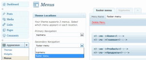 Menus page in WordPress Admin in Appearance Panel