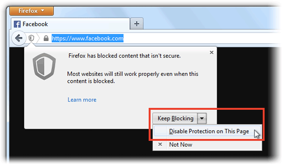 Disable Protection in Firefox