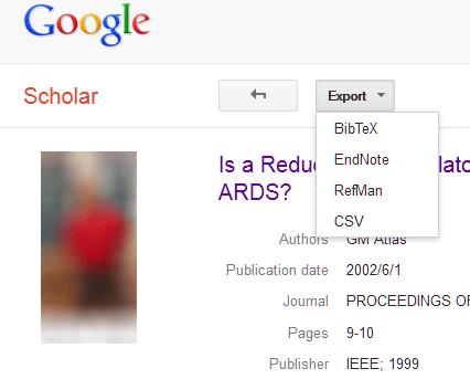 Google Scholar Export