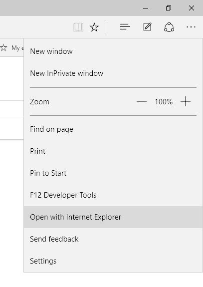 Microsoft Edge Menu